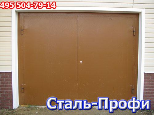 распашные металлические гаражные ворота фото